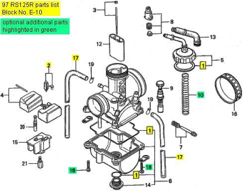 Honda Rs125 1995 1997 Carburetor Rebuild Kit