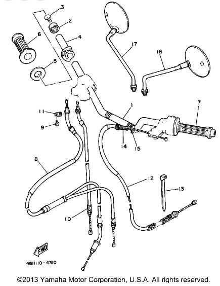 1984 Yamaha 1984 Rz350 Throttle Oil Pump Cable 48h 26260 09