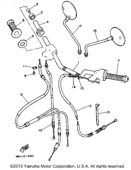 1984 Yamaha 1984 RZ350 Throttle Oil Pump Cable - 48H-26260-09
